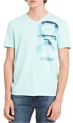 Calvin Klein Jeans Men's Short Sleeve Vertical CKJ Logo V-Neck T-Shirt