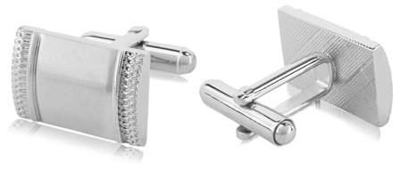AERUSI Men's Premium Stainless Steel Silver Plated Cuff Links for Dress Shirts, Business Suits, Wedding Suits [Single Pair]