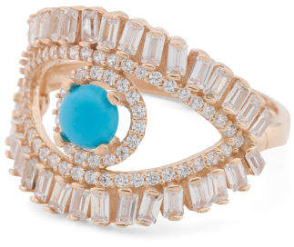 Made In Turkey Sterling Silver Cz Open Evil Eye Ring