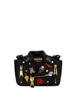 Moschino Fashion Pins Biker Jacket-Shaped Shoulder Bag, Black/Multi $1,895 thestylecure.com