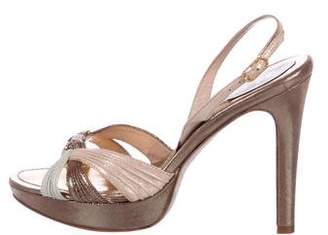 Rene Caovilla Metallic Suede Embellished Sandals