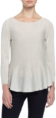 Philosophy 3/4-Sleeve Metallic Knit Peplum Sweater, Pure Snowflake $255 thestylecure.com