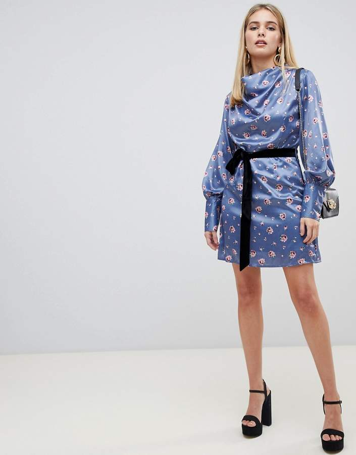 drape collar dress with tie waist in romantic floral