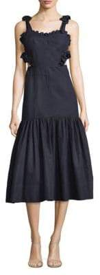 Rebecca Taylor Ruffled Cutout Midi Dress