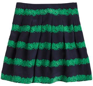 J.Crew Silk skirt in beanstalk stripe