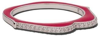 Raphaele Canot 18kt white gold OMG! diamond and enamel ring