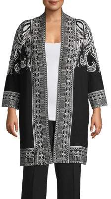Context Plus Framed Paisley Printed Open Cardigan