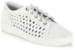 Michael Kors Collection Violet Woven Leather Lace-Up Sneakers