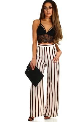 Pink Boutique Smarty Pants Cream Stripe Wide Leg Trousers