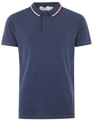 Topman Mens Stone Blue Muscle Fit Polo