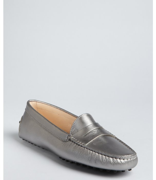 Tod's silver metallic leather moc penny loafers