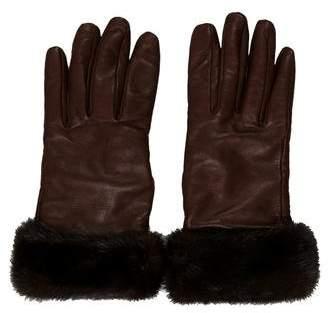 Hayward Mink Fur-Trimmed Leather Gloves