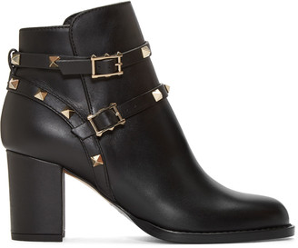 Valentino Black Rockstud Ankle Boots $1,375 thestylecure.com