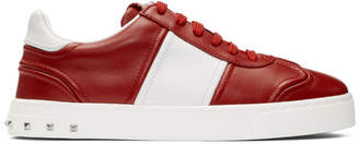 Valentino Red and White Garavani Flycrew Rockstud Sneakers