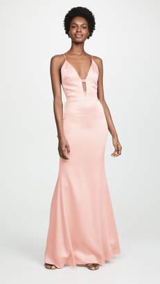 Cushnie Plunging Sleeveless Gown