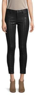 Laced Faux-Leather Pants