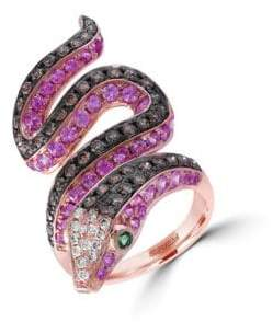 Effy Diamond, Semi-Precious, Multi-Stone and 14K Rose Gold Snake Ring