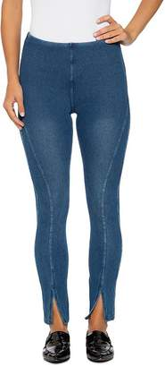 Lysse Front-Slit Denim Leggings in Mid Wash