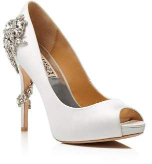 Badgley Mischka Royal Embellished Peep Toe High-Heel Pumps