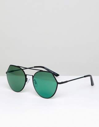 Pieces High Bar Sunglasses With Mirror Lens