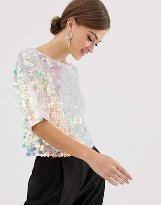 Asos Design DESIGN t-shirt with all over square sequin