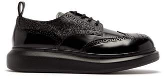 Alexander McQueen Raised Sole Leather Derby Shoes - Mens - Black