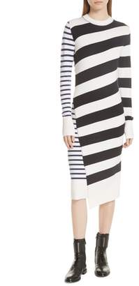 Jason Wu GREY Mixed Stripe Merino Wool Sweater Dress