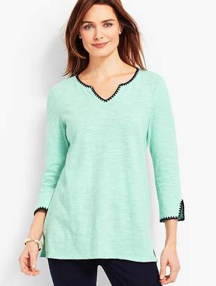 Talbots Split-Neck Tunic with Embroidery