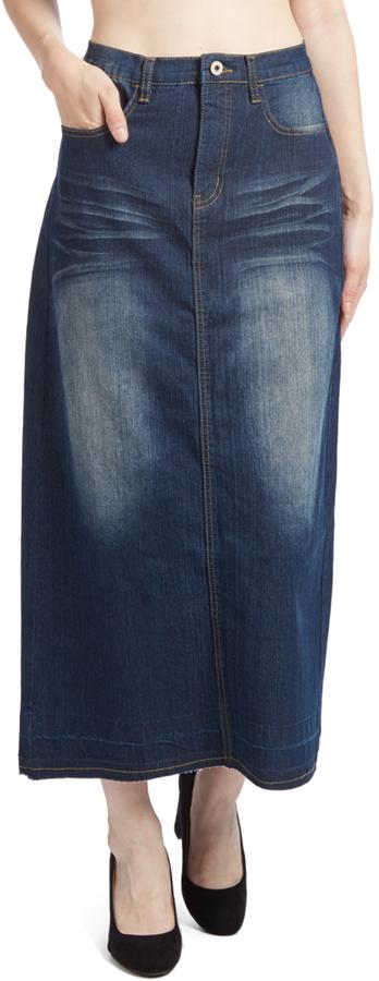 Dark Wash Long Denim Skirt