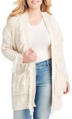 Jessica Simpson Plus Fringe-Trim Knit Cardigan