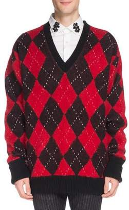 Alexander McQueen Men's Oversized Wool Argyle Sweater