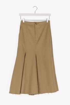 Genuine People Wave Hem Fishtail Midi Skirt