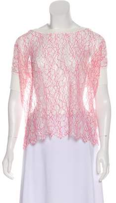Valentino Lace Semi-Sheer Blouse w/ Tags Pink Lace Semi-Sheer Blouse w/ Tags