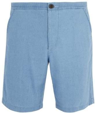 Oliver Spencer Kildale Mid Rise Cotton Shorts - Mens - Blue