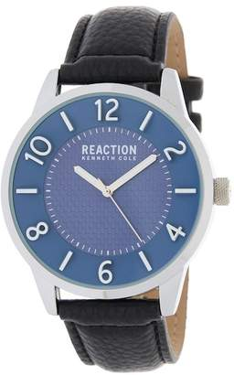 Kenneth Cole Reaction Men's 3 Hand Analog Leather Strap Watch, 45mm