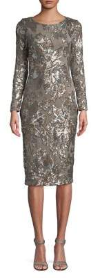 Betsy & Adam Floral Sequined Sheath Dress