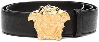 Versace black Medusa logo buckle leather belt