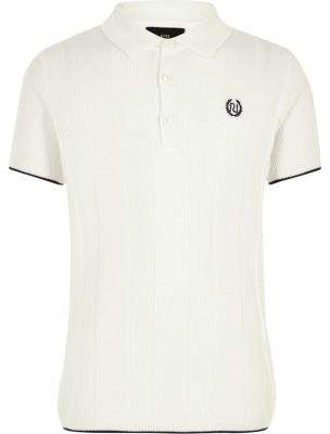 River Island Boys RI white wide ribbed polo shirt