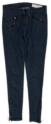 Rag & Bone Zipper-Trimmed Low-Rise Jeans