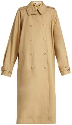 Side-slit double-breasted trench coat