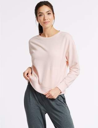 Marks and Spencer Cotton Rich Marl Long Sleeve Sweatshirt