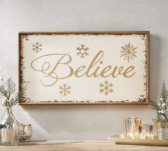 Pottery Barn Believe Sign