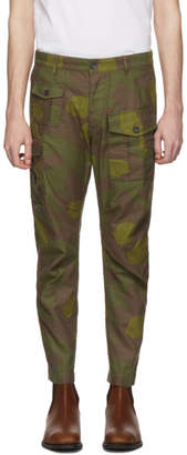 DSQUARED2 Green and Brown Camo Sexy Cargo Pants