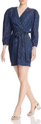 Rebecca Taylor Faune Faux-Wrap Denim Dress