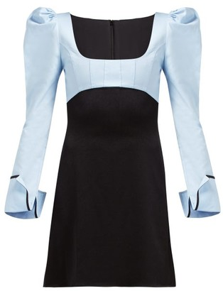Ellery Heritage Puff Sleeve Dress - Womens - Black Blue