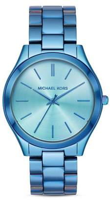 b18ddc8219ef Michael Kors Slim Runway Blue Link Bracelet Watch