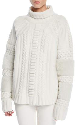 Sally Lapointe Turtleneck Wool-Cashmere Cable-Knit Sweater w/ Shearling