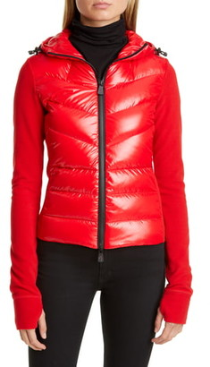 Moncler Quilted Down Front Hooded Fleece Jacket