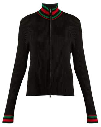 Wales Bonner High Neck Contrast Striped Knit Cardigan - Womens - Black Multi