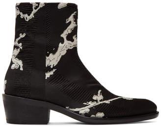 Haider Ackermann Black Silk Embroidered Leonotis Boots